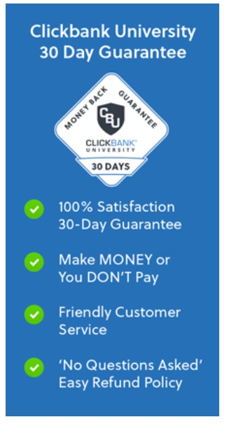 clickbank University 2.0 - guarantee